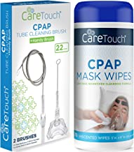 Care Touch CPAP Mask Wipes, Unscented - 70 Wipes Plus CPAP Tube Cleaning Brush (7 feet) and Handy CPAP Mask Brush (7 inche...