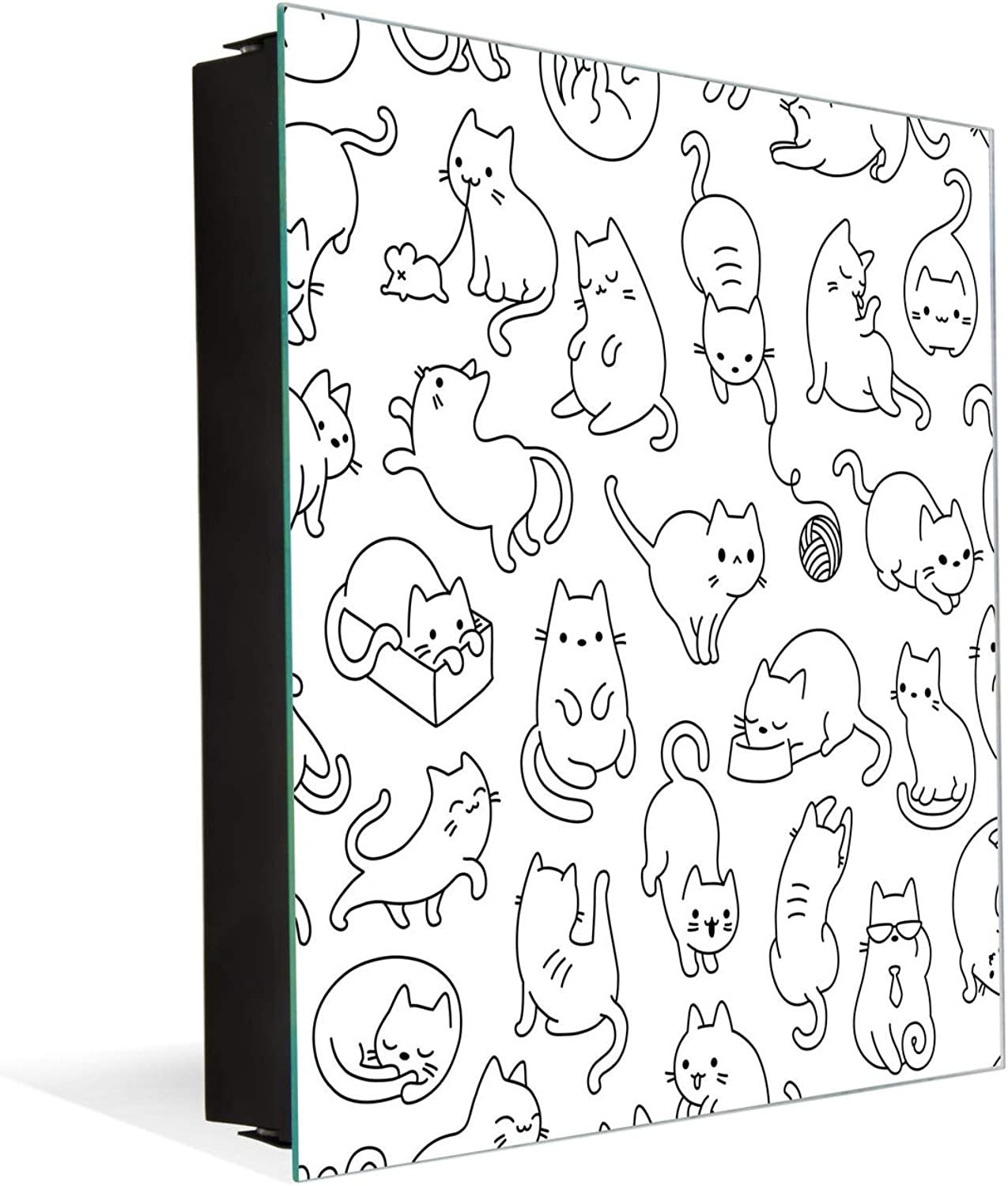 50 Keys Cabinet with Decorative Front Panel and Glass White Board K02 Cute Cats