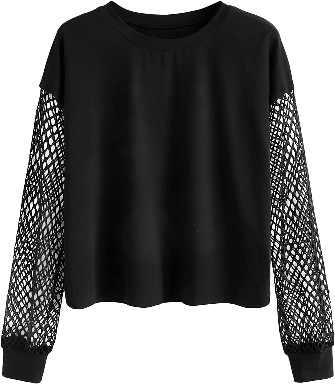 Milumia Women's Plus Size Fishnet Long Sleeve Crewneck Casual Sweatshirt Pullover Tops