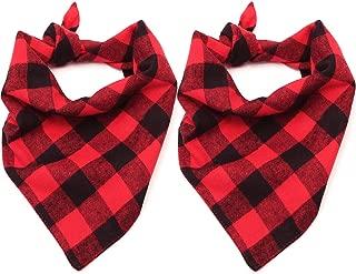 Malier 2 Pack Dog Bandana Christmas Classic Plaid Pet Bandana Scarf Triangle Bibs Kerchief Set Pet Costume Accessories Decoration for Small Medium Large Dogs Cats Pets