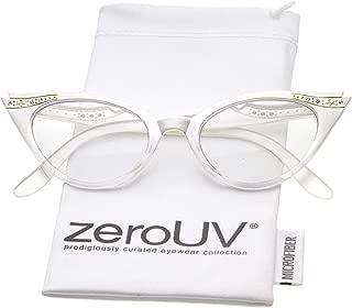 Women's Retro Rhinestone Embellished Clear Lens Cat Eye Glasses 51mm