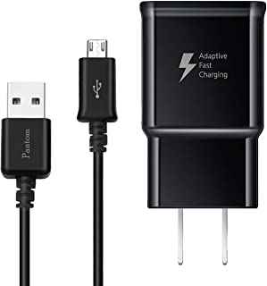 Adaptive Fast Charging Wall Charger with 5-Feet Micro USB Cable Kit Compatible with Samsung Galaxy S7/S7 Edge/S5/S6/S6 Edge/S4/S3/Note 5 [Black]