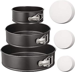 "Hiware Springform Pan Set of 3 Non-stick Cheesecake Pan, Leakproof Round Cake Pan Set Includes 3 Pieces 6"" 8"" 10"" Springfo..."