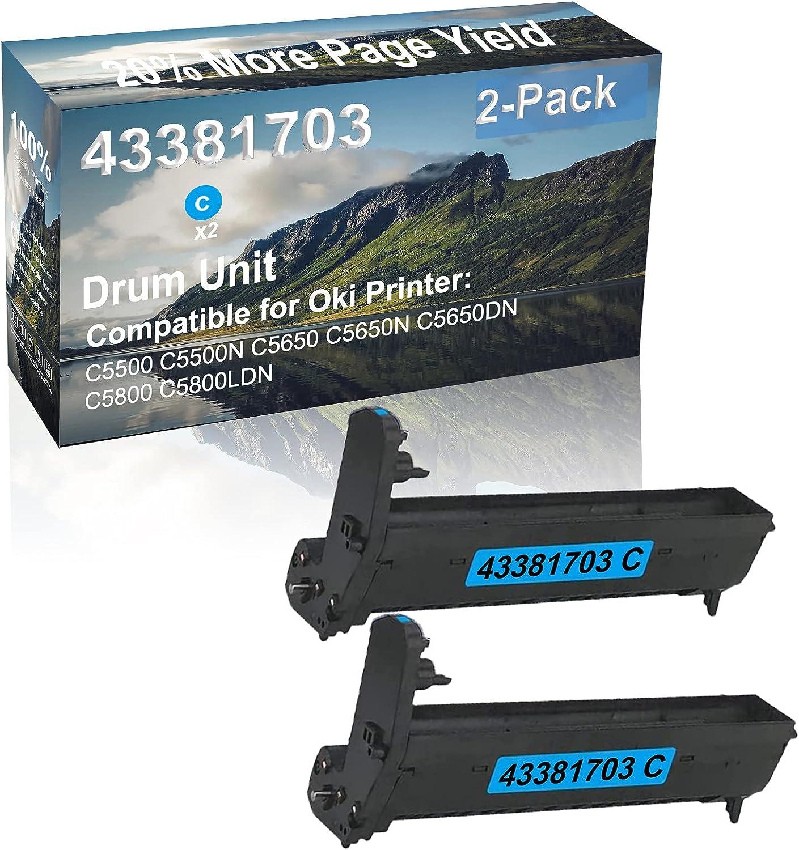 2-Pack (Cyan) Compatible High Capacity 43381703 Drum Unit Used for Oki C5500 C5500N C5650 Printer