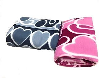 Homescape Fleece 100 TC Blanket (Pink & Grey_Standard)