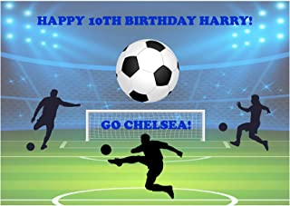 Baking Bling Chelsea Football Fan A4 Personalised Name Age Birthday Easy Peel PRE-Cut Edible Icing Cake Topper