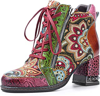 gracosy Ankle Boots Women Flat Leather Boots New Printing
