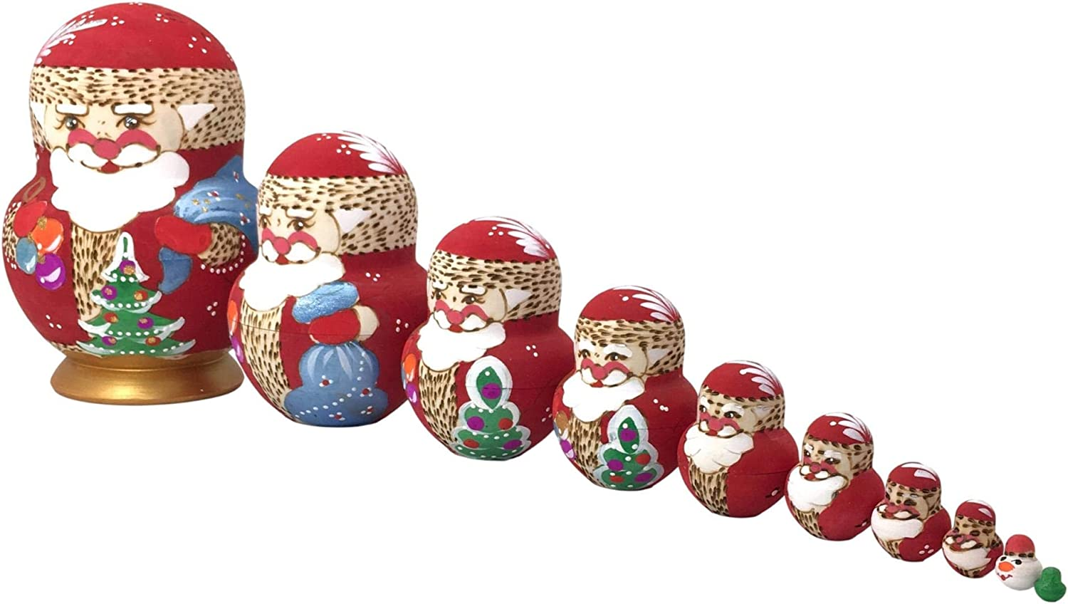 10 Max 83% OFF Pieces Set safety Russian Santa Handcrafted Crafted Ma Nesting Dolls