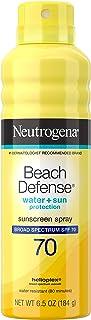 Neutrogena Beach Defense Spray Sunscreen with Broad Spectrum SPF 70 Fast Absorbing Sunscreen Body Spray Mist WaterResistant OilFree UVAUVB Sun Protection, 6.5 Ounce