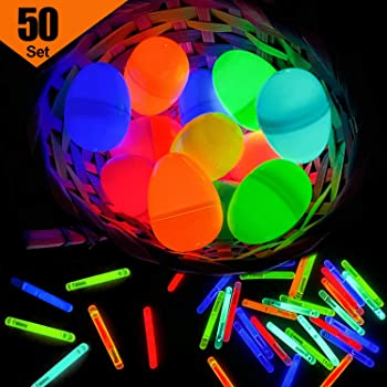 36 Easter Glow Eggs with mini Glow Sticks for Kids Glow-In-The-Dark Easter Baske