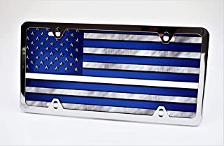 Partsapiens Corp. Blue American Flag Thin White Line Metal License Plate - Made in USA (Silver Frame, Silver Caps)
