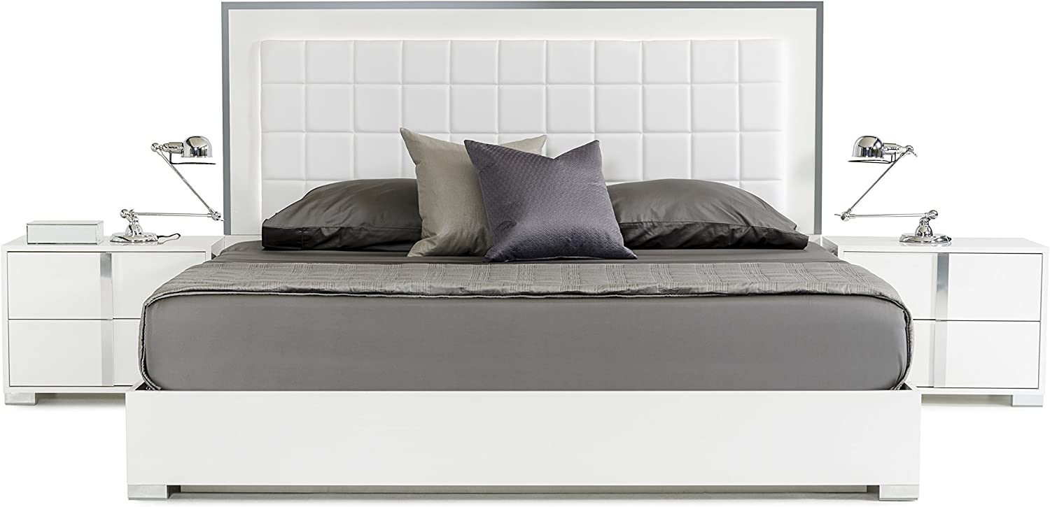 Limari Home Braden Collection Modern Style Italian Crafted Glossy Finished Platform Bed, California King, White