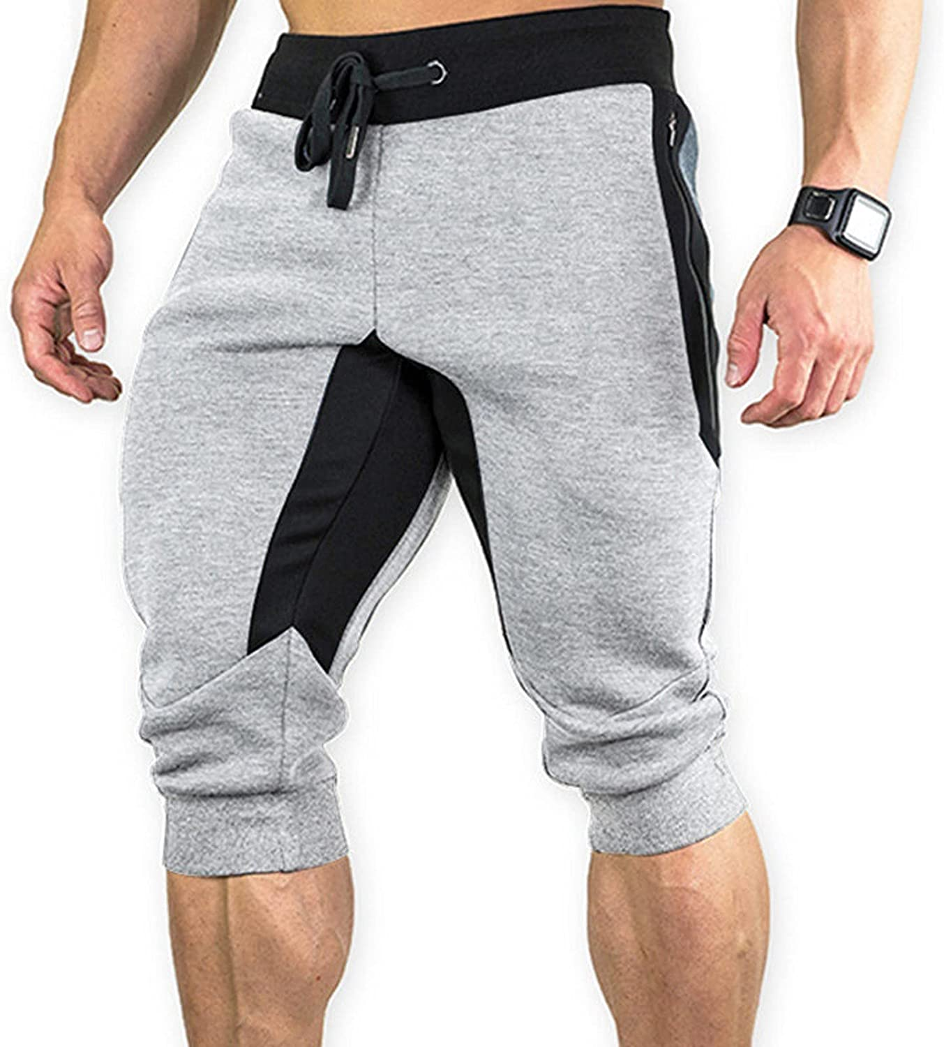 Sports Leisure Slim Running Shorts for Men, Men's Stretch Slim Fit Outdoor Training Sports Cropped Pants with Pockets