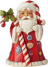 Enesco Jim Shore Heartwood Creek Santa with Big Candy Cane Miniature Figurine, 3.43 Inch, Multicolor