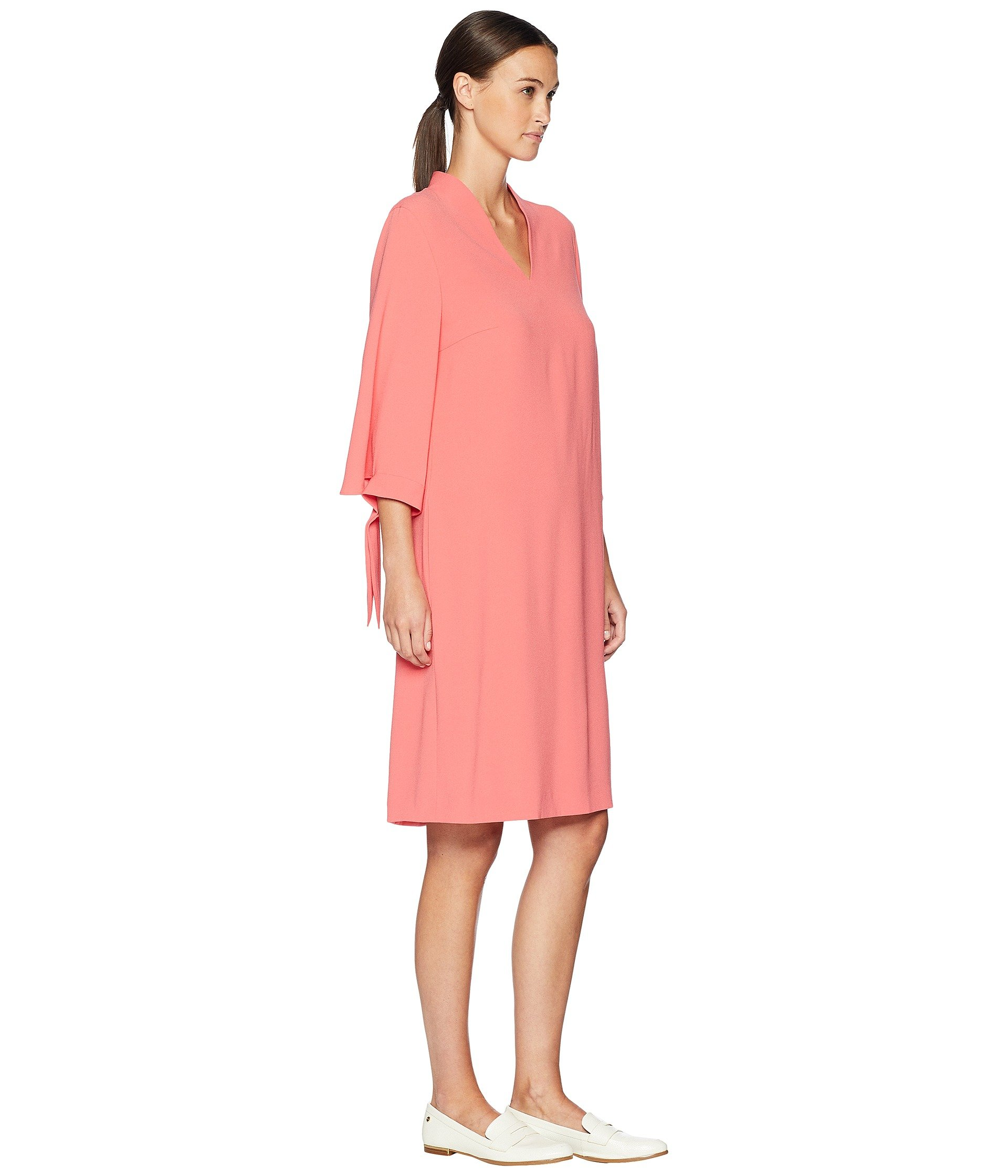 V Dsewa 3 neck 4 Escada Flamingo Sleeve Dress Rose AP6xHCwq