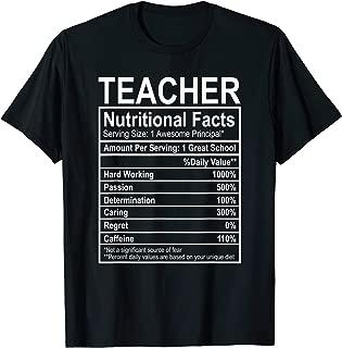 Funny Teacher Costume Teacher Nutritional Facts Gifts T-Shirt