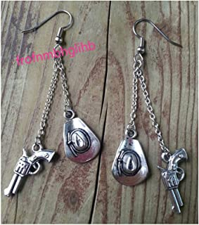 Silver cowgirl charm earrings, cowboy hat , cowboy pistol dangle earrings rodeos , round up