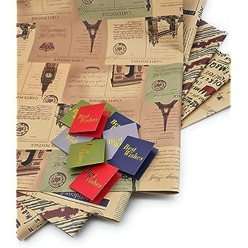 SATYAM KRAFT Wrapping Brown Paper Design Sheets (Pack of 10)