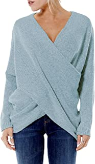 YOINS Sweaters for Women Long Sleeves Irregular Hem Jumpers Cross Front Sexy V Neck Knit Tops