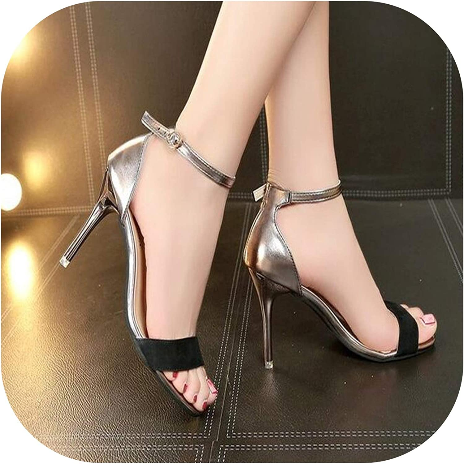 Summer Roman Fish Mouth shoes Bind high with fine with Joker shoes Sandals
