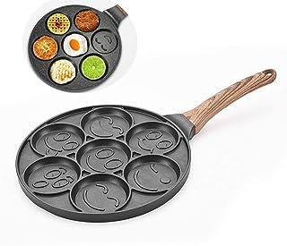Smiley Faces Crepes Pancake Pan 26 Cm Non Stick,Induction Safe 7 Eggs Fry Pan,Mini Crepe,Mini Uttapam,Pancakes