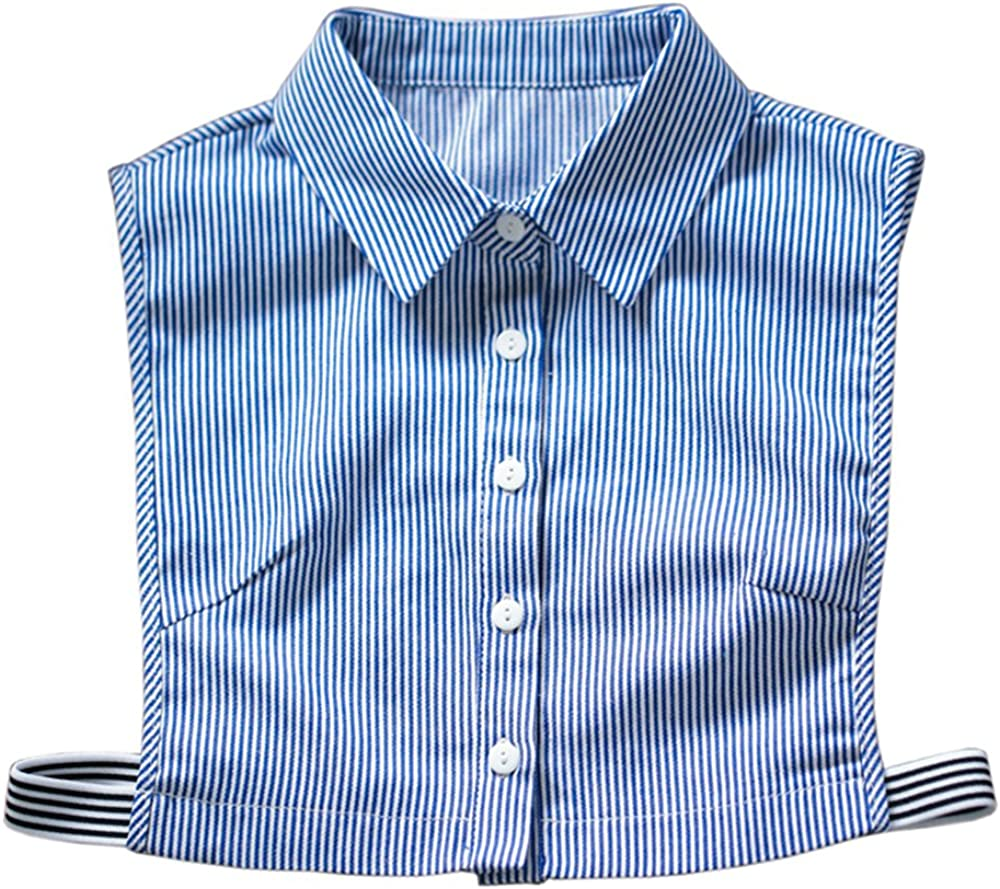 Vpang Stylish Detachable Half Shirt Blouse False Collar Blue Stripes Cotton Fake Collar Dickey Collar