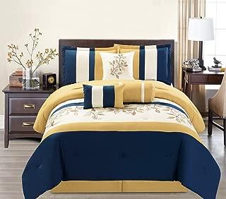 7 Piece Modern Oversize Yellow / Navy Blue / Beige Leaf Embroidered Comforter set KING Size Bedding