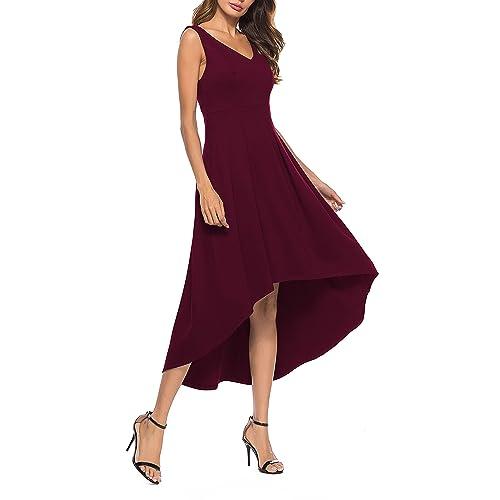 85502ee9bea2 Sarin Mathews Womens V Neck High Low Hem Club Cocktail Party Dress  Sleeveless Casual Long Maxi