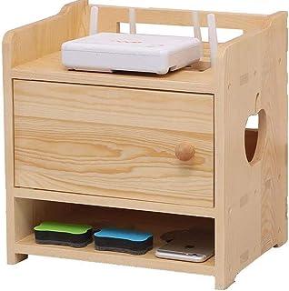 DGDF Estante de almacenamiento, soporte de madera maciza para TV set-top box, caja de almacenamiento de router inalámbrico...