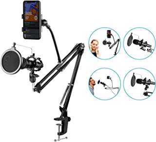 Neewer Adjustable Recording Microphone Suspension Boom Scissor Arm Stand with Mic Round Shape Wind Pop Filter Mask Shield, Shock Mount and Phone Holder, black