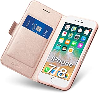 Aunote iPhone 7 Case Wallet, iPhone 8 Case with Card Holder, Ultra Slim Flip Filio PU Leather iPhone 7 Phone Case, Full Protective Cover 8 iPhone Case for Apple 4.7 inch Phone Rose Gold
