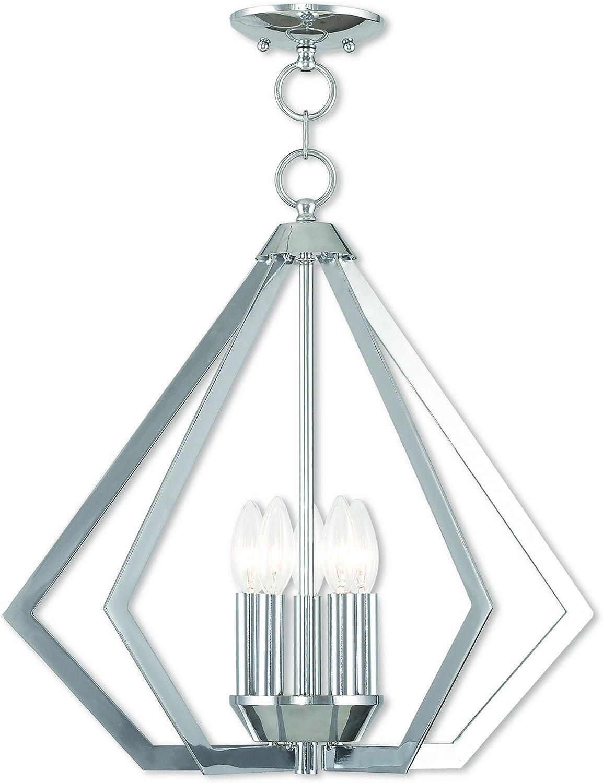 Livex Lighting 40925-05 Prism 5 Light Polished Chrome Chandelier,