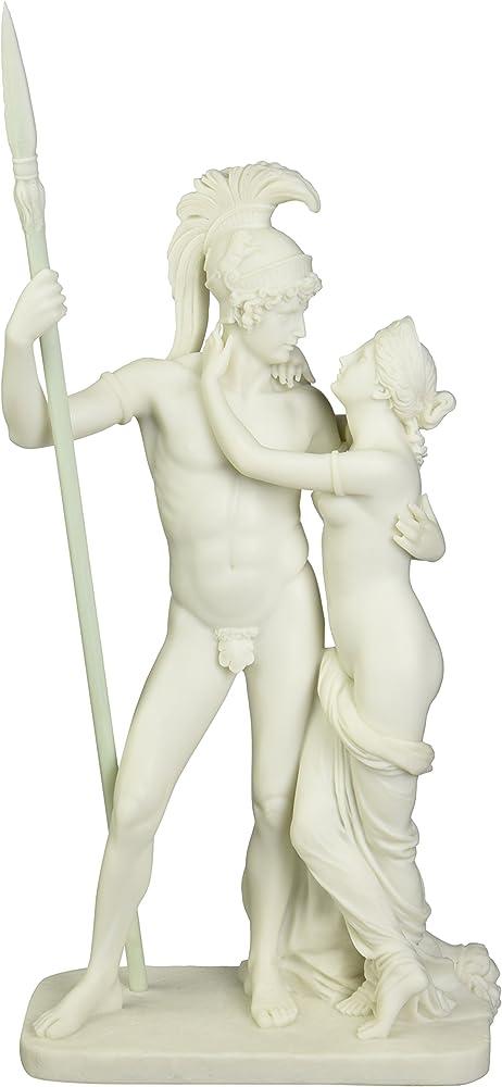 Design toscano wu73129 statua in marmo di ares e afrodite, marte e venere