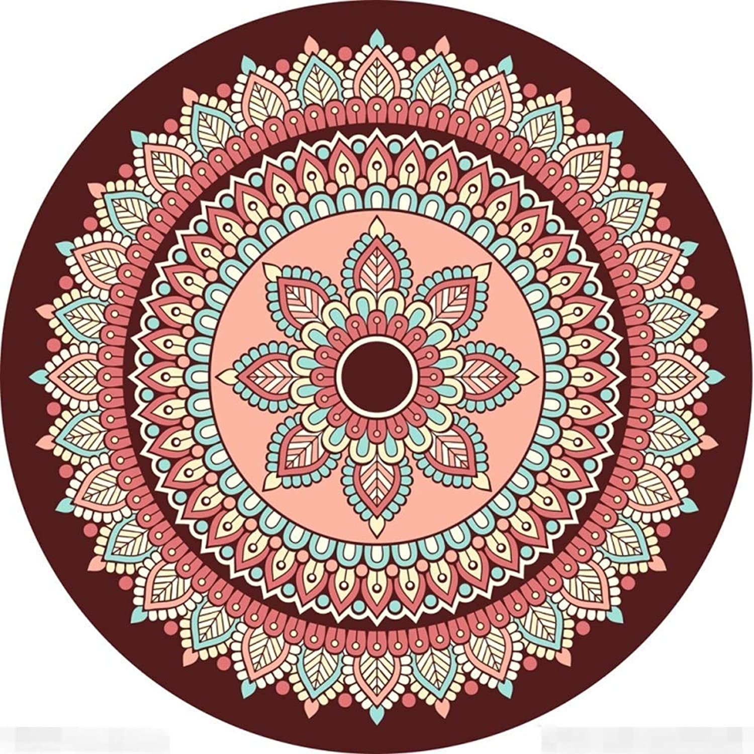 Royare Home Decorations mat 3D Round Carpet Washable Non-Slip Rugs Personality Ethnic Wind Floor Pad Bedroom Bedside Mat Cafe Bedroom Mat Yoga Mat (Size   160  160cm 62.99  62.99in)