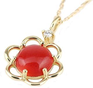 【最後1点-セール品】日本産 赤珊瑚 サンゴ 花 プチ ネックレス ダイヤモンド 18k イエロー ゴールド 御守り 幸運 プレゼント