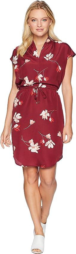 Petite Floral Drawstring Dress