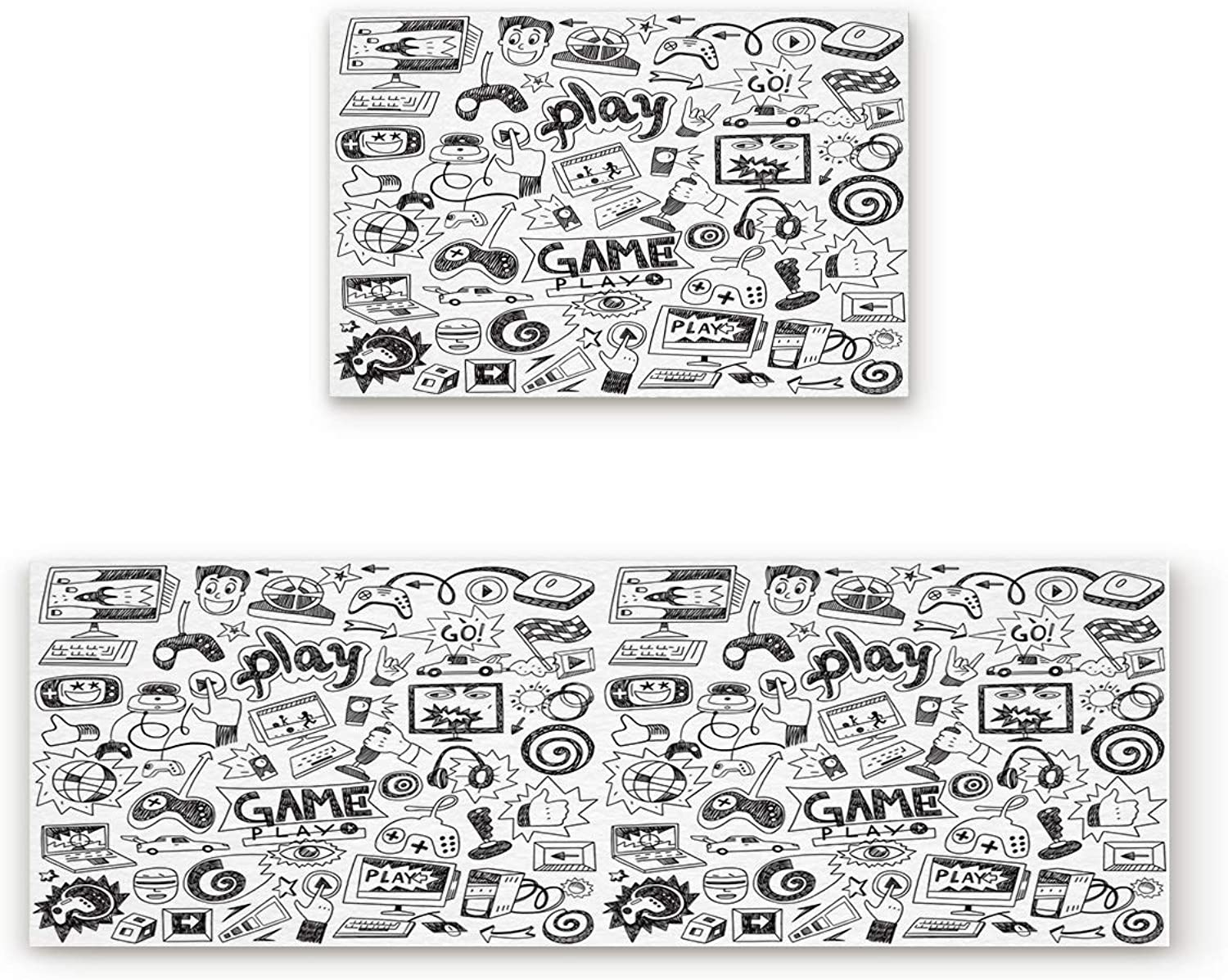 Aomike 2 Piece Non-Slip Kitchen Mat Rubber Backing Doormat Black and White Sketch Play Game Theme Runner Rug Set, Hallway Living Room Balcony Bathroom Carpet Sets (19.7  x 31.5 +19.7  x 47.2 )