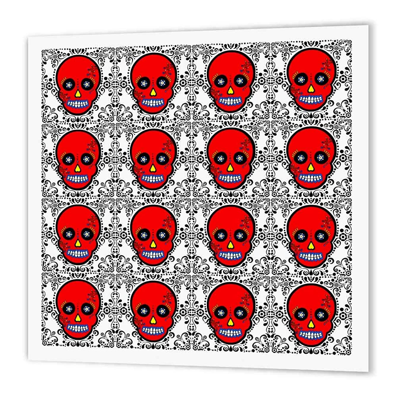 3dRose ht_28890_2 Day of The Dead Skull Dia De Los Muertos Sugar Skull Print Red-Iron on Heat Transfer Paper for White Material, 6 by 6-Inch