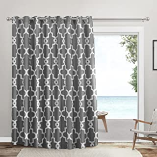 Exclusive Home Curtains Ironwork Patio Sateen Woven Room Darkening Blackout Grommet Top Curtain Panel, 108x84, Black Pearl