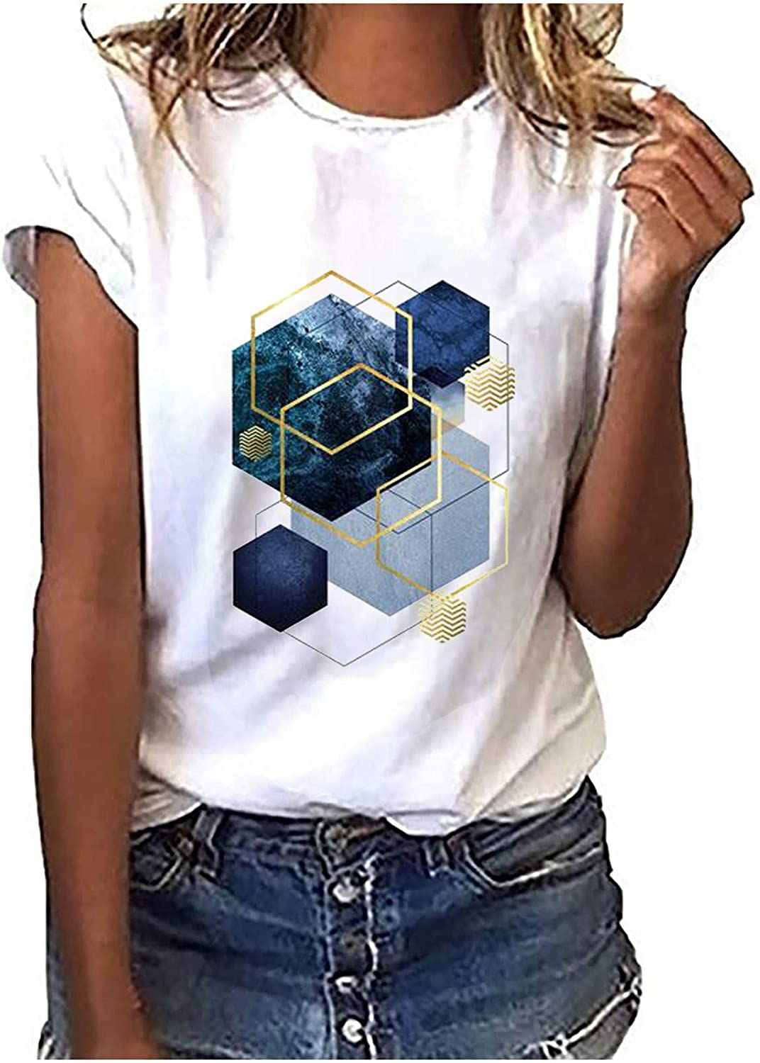 Cube sold out Printing T-Shirts for Limited price Women Tops Short Casual Graphic Sleev
