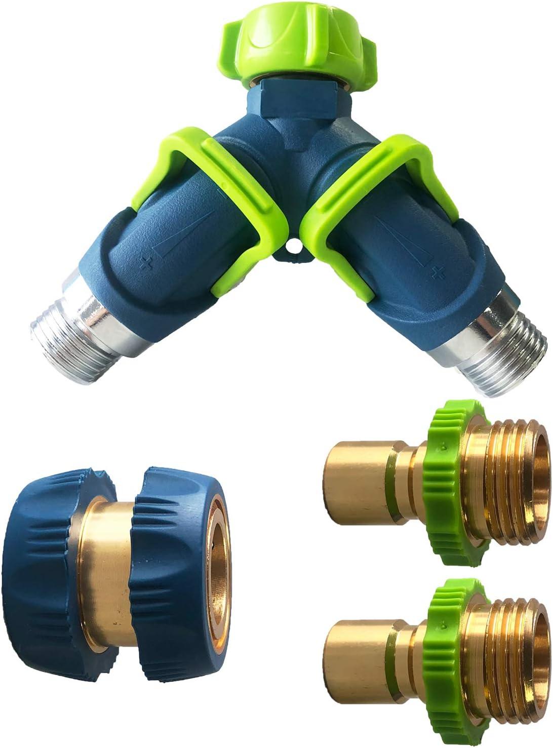 Heavy Duty Brass Garden Hose Y Splitter Connect Faucet (2 Way/4Way), 3/4
