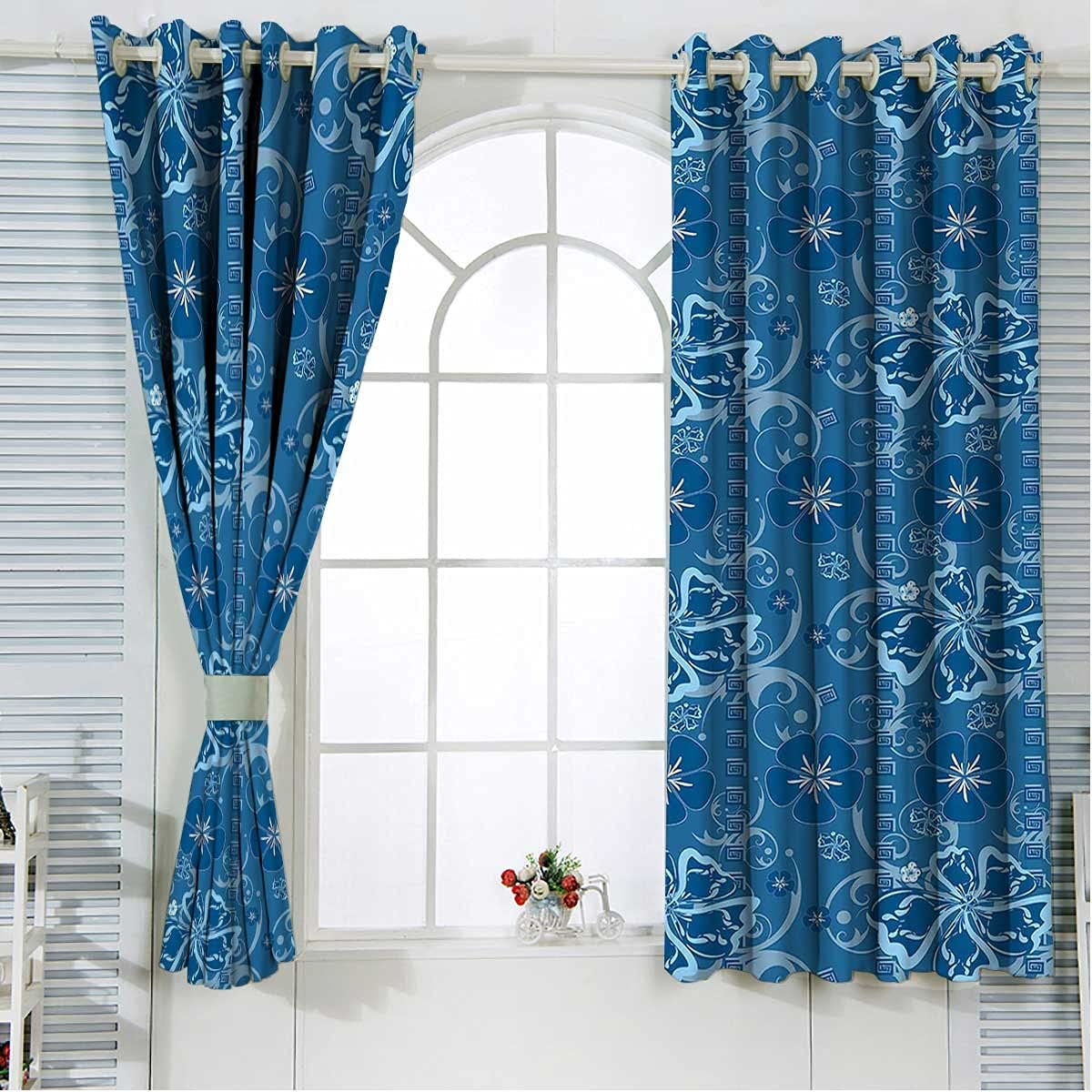 Short Curtain A surprise price is realized 84 Inches Length Curtains Indianapolis Mall Blackout Floral Pattern