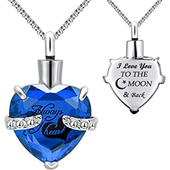 PREKIAR Cremation Urn Necklace for Ashes Heart Pendant Jewelry Memorial Pendant Stainless Chain with Fill Kit and Gift Box-Your Wings were Ready