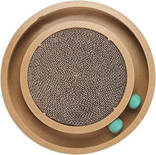 HW Hard Word Cat Scratch Board Corrugated cat Scratch Board pet Funny cat Wooden Game Turntable cat Supplies cat with Educational Toys Wood Color Cat Scratcher