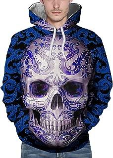 Lovers Hoodies Sweatshirt Fall Winter Unisex Interesting Vintage Skull Printed Loose Casual Pullover Coat