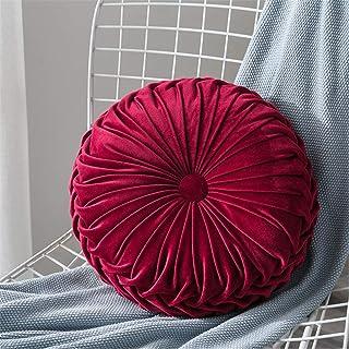 Yuanyou - Cuscino rotondo in velluto plissettato, tinta unita, per la casa, morbido cuscino, Cotone Poliestere, Rosso vina...