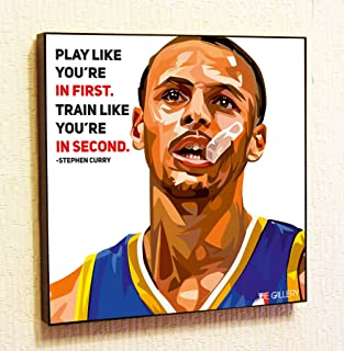 Stephen Curry NBA Backetball Motivational Quotes Wall Decals Pop Art Gifts Portrait Framed Famous Paintings on Acrylic Canvas Poster Prints Artwork Geek Decor (10x10