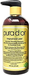 PURA D'OR Anti-Hair Thinning Shampoo w/ 0.9% KETO-CONAZOLE & 0.5% Coal Tar, Biotin Shampoo for Thinning Hair and Healthier Scalp - Sulfate Free, Men & Women, 16 Fl Oz (Packaging May Vary)