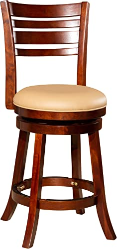 """2021 DTY high quality Indoor Living Granby 4-Slat Back Bonded Leather Swivel Stool, 24"""" 2021 Counter Stool, Cherry Finish, Bone Leather Seat online"""