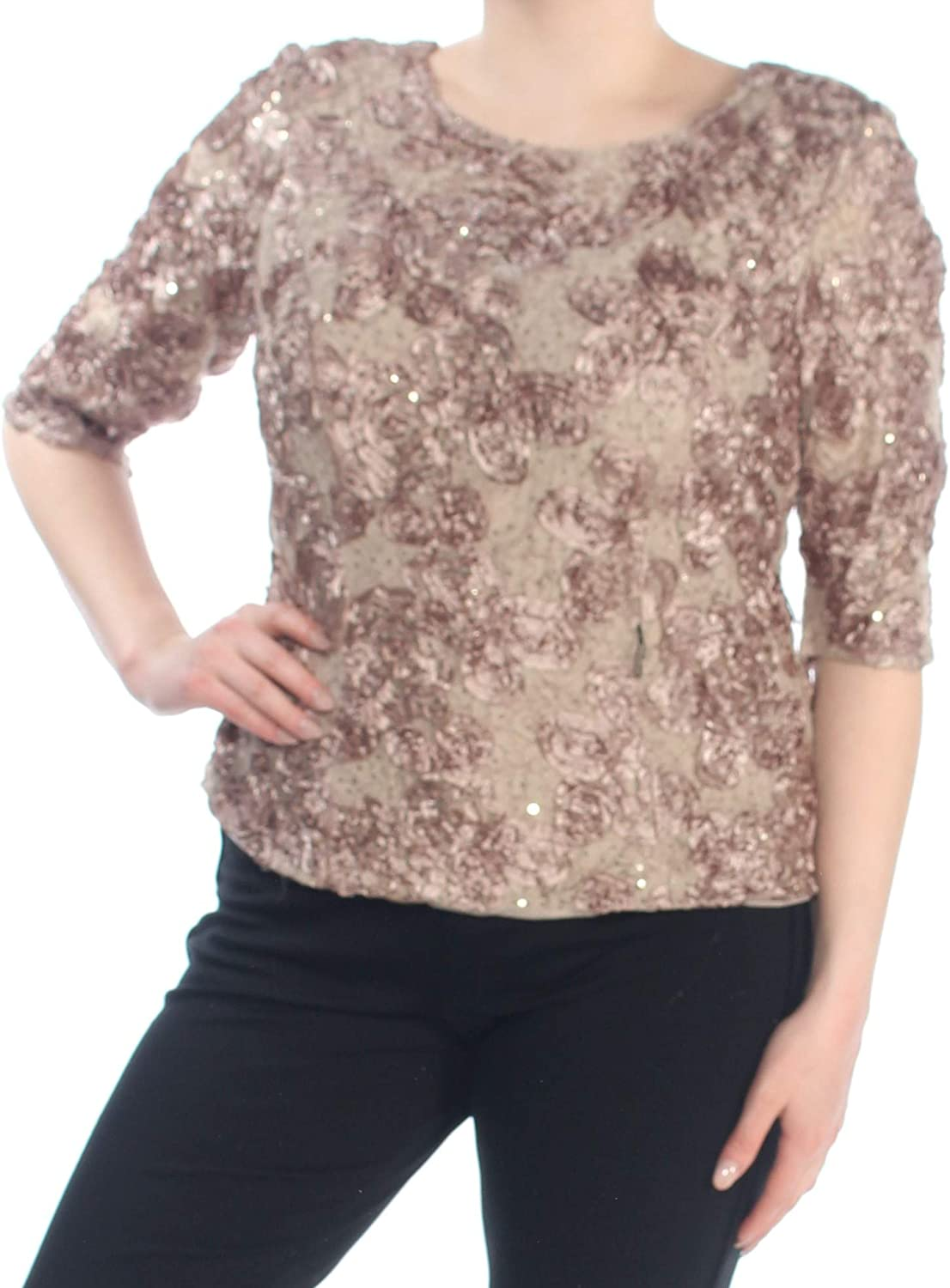 Alex Evenings Womens Plus Sequined Lace Blouse